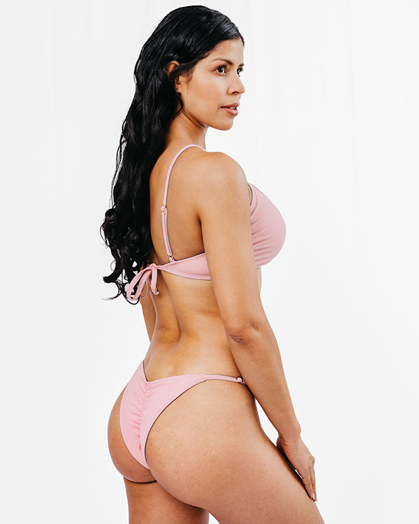 OLINDA - Cross-Front Bikini Top Pink