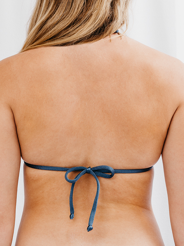 STELLA - Triangle Bikini Top Metallic Blau
