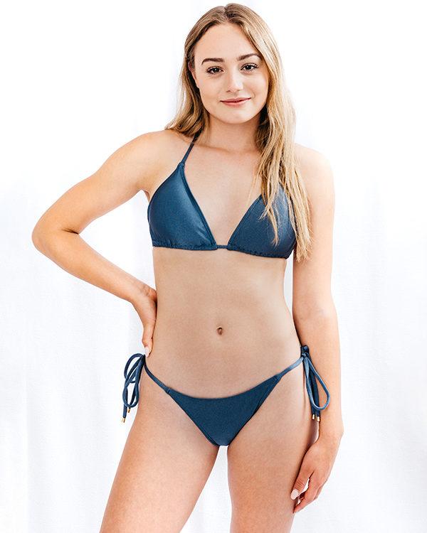 STELLA - Regular Cut Bikini Bottom Metallic Blue