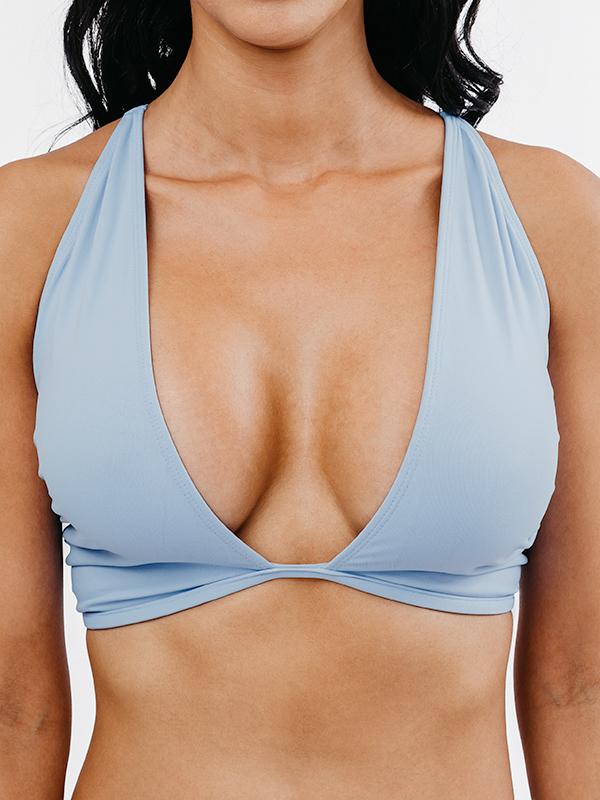 OLINDA - Cross-Front Bikini Top Hellblau