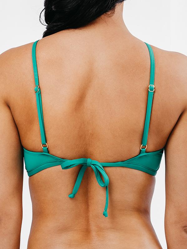 OLINDA - Cross-Front Bikini Top Green